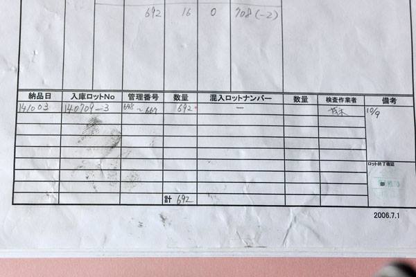 ロット管理表の記載事例
